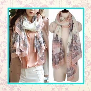 Accessories - 🌸 New pink & gray Paris Eiffel tower scarf multi